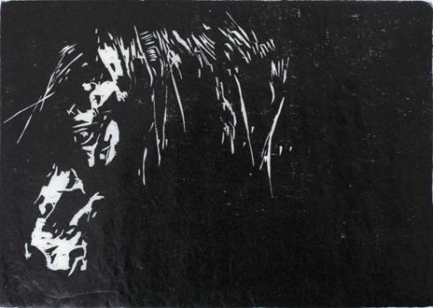 Mustaa valkoisella, puupiirros, 2009